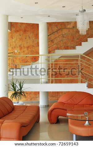 Interior of a villa in orange color gammut