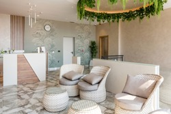 Interior of a waiting room in a beauty salon