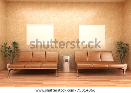 interior of a waiting room - rendering - stock photo