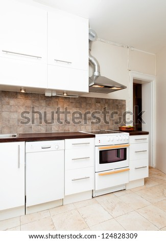 interior of a white kitchen