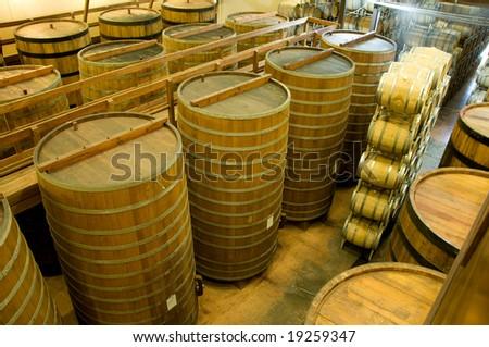 Interior of a winery in Napa, California