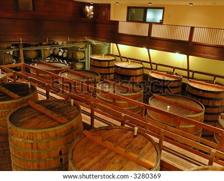 Interior of a winery in Sonoma, California.
