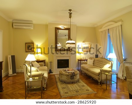 interior of a yellow living room - stock photo