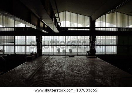 Interior of Abandon Architecture, silhouette image #187083665