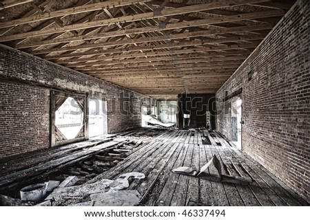 interior of abandoned railroad depot