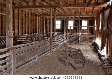 interior of an abandoned barn...