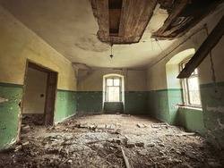 interior of an abandoned house. Photo with filter