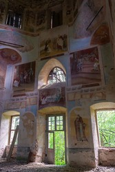 interior of an abandoned Orthodox church, Russia, Vladimirovo tract, year of construction 1809 currently the temple is abandoned