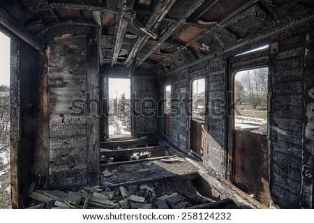 Interior of an abandoned railway wagon