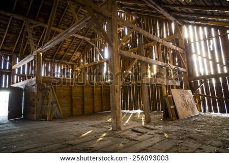 Interior Of An Abandoned Rustic Old Barn 256093003