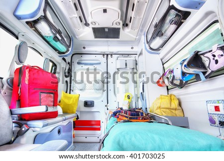 Interior of an ambulance. High key.