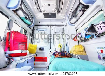 Interior of an ambulance. High key.
