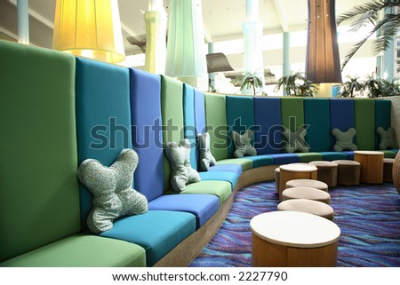 Interior of an anonymous hotel lobby in Whitsunday, australia