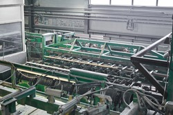 interior of an automated workshop for the production of boards at a modern sawmill