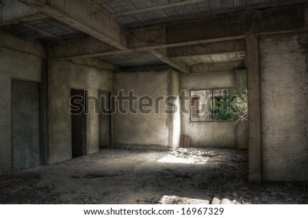 Interior of an empty dirty derelict house