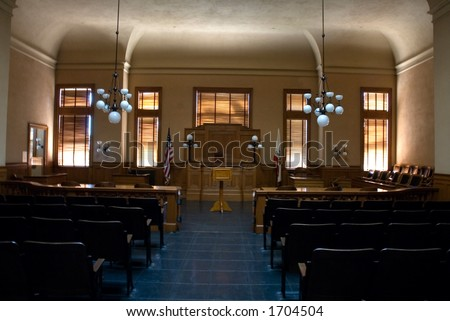 interior of an empty old courtroom
