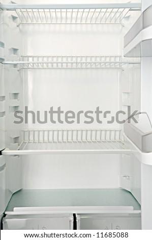 Interior of an empty open white refrigerator