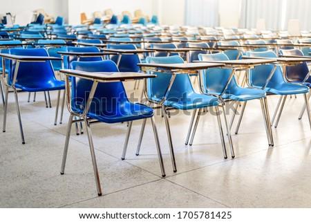 Interior of an empty school classroom , Quarantine during coronavirus covid-19 pandemic outbreak concept