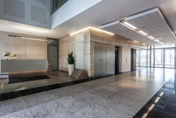 Interior of an office building with reception
