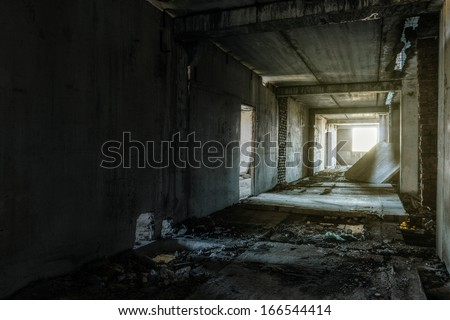 interior of an old abandoned building stock photo