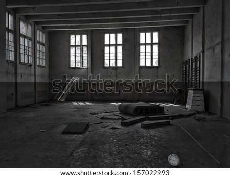 interior of an old abandoned gym