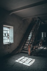 interior of an old abandoned watermill, retro building