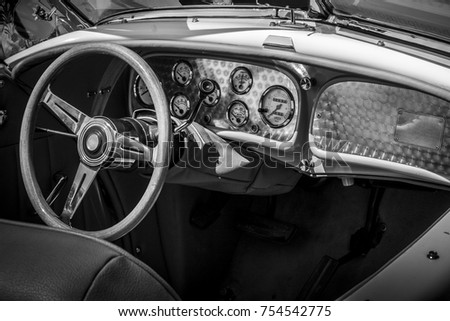 Interior Of An Old Car In Black And White Restored Retro Car Ez