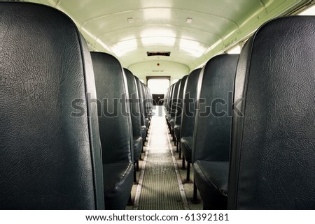 Interior of an old school bus (shallow depth of field)