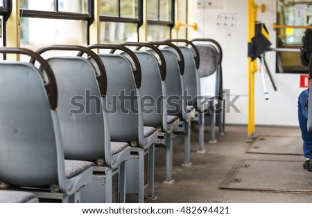 Interior of an old tramway - empty tram - Shutterstock ID 482694421