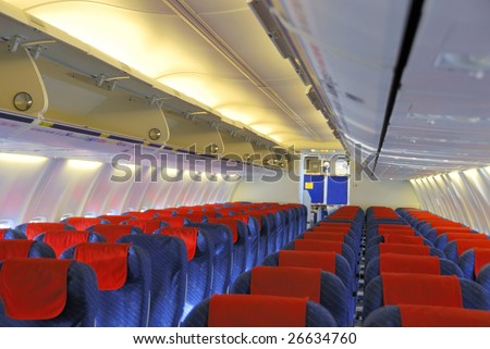 Interior of an passengers airplane without people