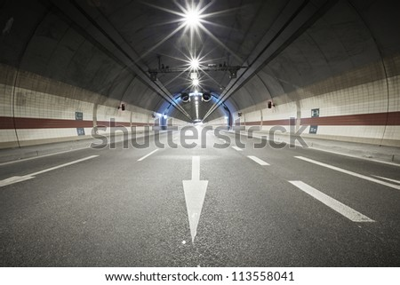 Interior of an urban tunnel, Prague, Czech Republic