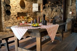 interior of ancient kitchen in castle