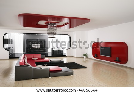 Interior of apartment. Living room, kitchen 3d render