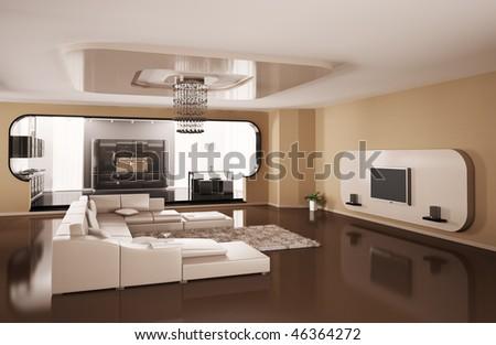 Interior of apartment. Living room, kitchen 3d render
