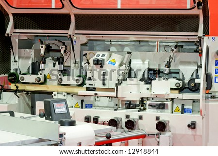 Interior of automatic line for woodworking machinery