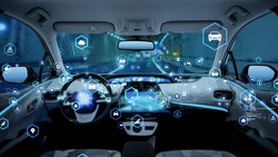 Interior of autonomous car. Driverless vehicle.