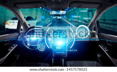 Interior of autonomous car. Driverless vehicle. Self driving. UGV. #1457578025