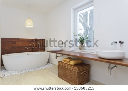 Interior of bathroom in african style #158685215