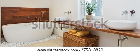 Interior of bathroom in african style - panorama #275818820