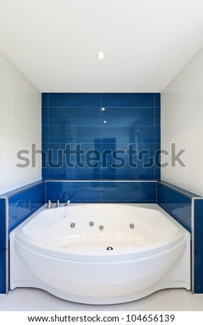 interior of bathroom in modern house,  hot tub