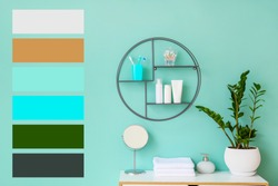 Interior of bathroom with modern shelf. Different color patterns