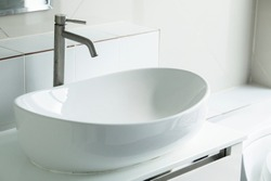 Interior of bathroom with sink basin,Modern bathroom in luxury house,Modern wash basin in the bathroom