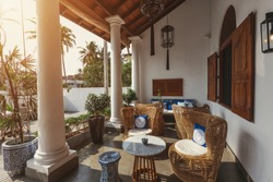 Interior of beautiful luxury tropical hotel in Sri Lanka outdoor