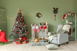 Interior of beautiful room decorated for Christmas