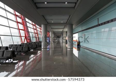 Interior of Beijing International Airport. China. - stock photo