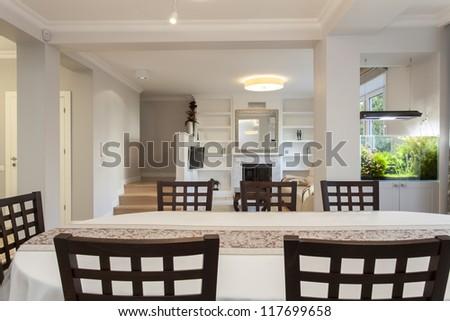 Interior of bright and elegant flat, living room