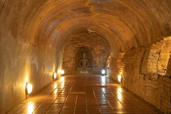Interior of buddha pagoda stupa tunnel. Wat Umong Temple Park, Chiang Mai, Thailand. Thai buddhist temple architecture. Tourist attraction.