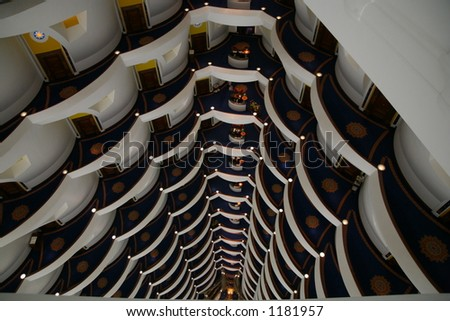 Interior of Burj al Arab lobby from the top