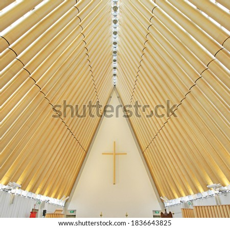 Interior of Cardboard Cathedral in Christchurch, New Zealand, it is the transitional pro-cathedral of the Anglican Diocese of Christchurch. Stock photo ©