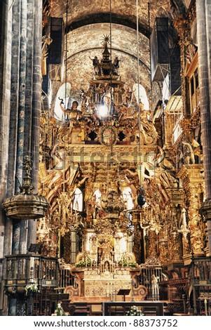 Interior of cathedral of santiago de compostela the final - Interior santiago de compostela ...